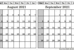 Calendar 2021 August September Template