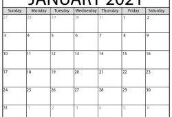Calendar 2021 January Blank