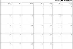 Calendar April 2021 Monday Start