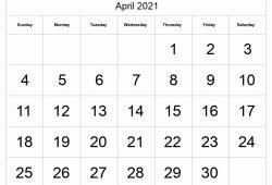 Calendar April 2021 a4