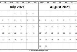 Calendar July August 2021 Editable