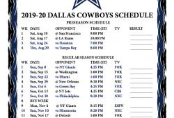 Dallas Cowboys Printable Schedule 2020 2020