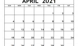 Free Apr 2021 Calendar Editable