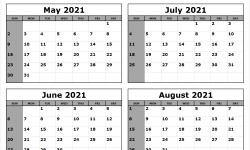 Jul Aug 2021 Printable Calendar with Lines