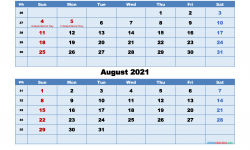 July August 2021 Calendar to Print