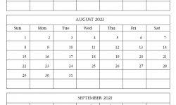 July August 2021 Printable Calendar Free