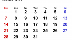 Mar 2021 Free Calendar Template