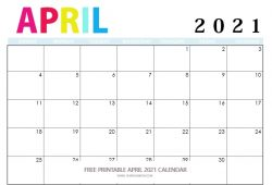 Print Free Calendar Apr 2021