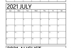 Printable Calendar Jul Aug 2021