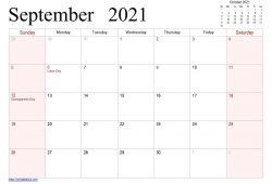 September 2021 Calendar Print Out