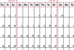 Three Month Calendar Aug to October 2021