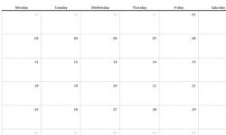 1 Month Calendar Template