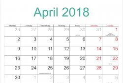 Calendar April Holiday 2018