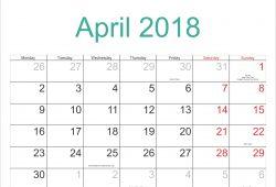 Calendar April Holidays 2018