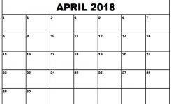 April 2018 Printable Calendar Pdf Free Download