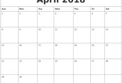 April 2018 Calendar Printable Word