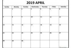 April Calendar 2019 Print