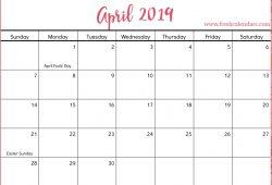 2019 Apr Calendar