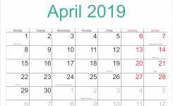 April 2019 Calendar With Holidays Printable Calendar Templates