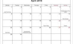 April 2019 Calendar With Holidays Usa Uk Australia Free