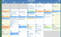 April 2020 Calendar With Holidays United States