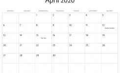 April 2020 Editable Calendar With Holidays