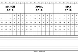 2018 Calendar March April May