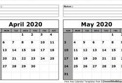 April May 2020 Calendar Print