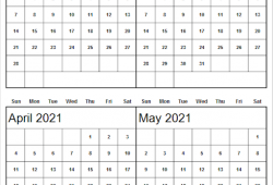 April May 2021 Calendar Editable Printable