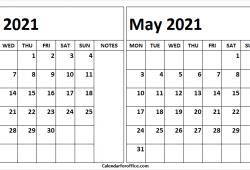 April May 2021 Calendar Free Printable