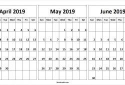 2019 April May June Calendar