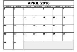 Calendar 2018 April In Excel