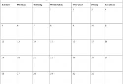 Monthly 2018 Calendar Uk