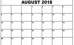 August 2018 Calendar Printable Template August 2018 Calendar