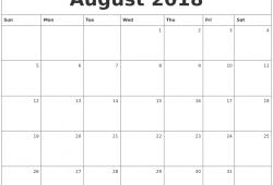 August September Calendar 2018