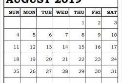August 2019 Calendar Clipart