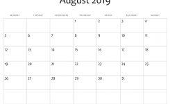August 2019 Calendar Template Printable Calendar Templates