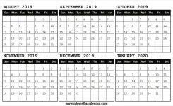 August 2019 January 2020 Calendar Free Print 2019