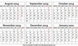 Printable August 2019 January 2020 Calendar