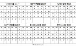 August 2019 To January 2020 Printable Calendar 2019 Monthly