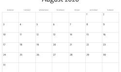 August 2020 Fillable Calendar