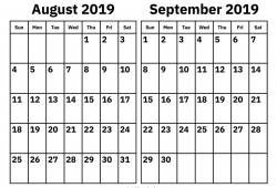 August To September 2019 Calendar Template