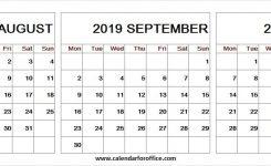 August October 2019 Calendar Notes Print Free Template