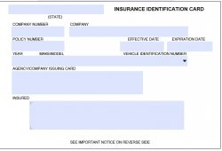 Car Insurance Cards Printable