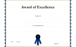 Award Template Certificate Borders Award Of Excellenceis Given