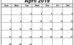 Blank April 2019 Calendar Templates Calenndar