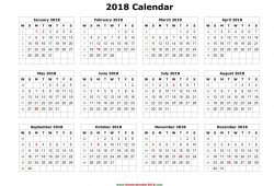 2018 Yearly Calendar In Word