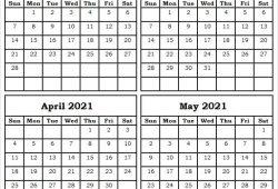 Blank Calendar 2021 February to May