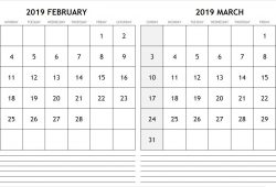 February To March 2019 Calendar Printable