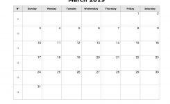 Blank Calendar For March 2019